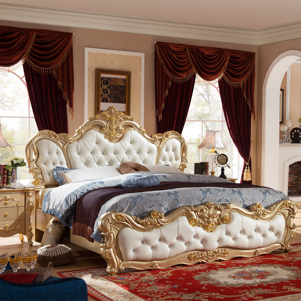 french luxury bed with gold color no mattress h904china mainland - Wholesale Bed Frames