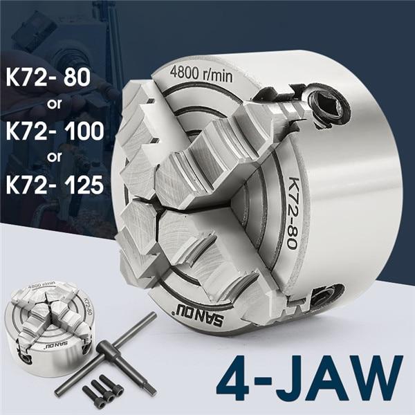 K72-80/K72-100/K72-125 4 Mâchoires Mandrin de Tour 80mm/100mm/125mm Indépendants 1 pièces Mandrin De Sécurité Clé 3 pièces Boulon De Fixation