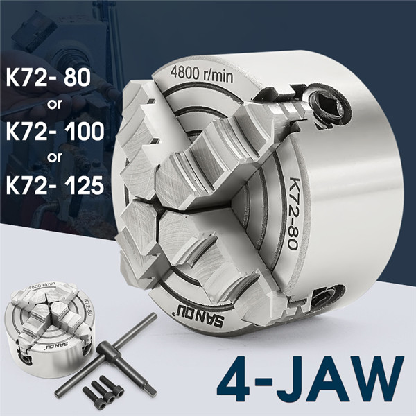 K72-80/K72-100/K72-125 4 Mors Mandrin 80mm/100mm /125mm Indépendant Auto-Centrage 1 pcs Chuck Sécurité Clé 3 pcs Boulon De Fixation