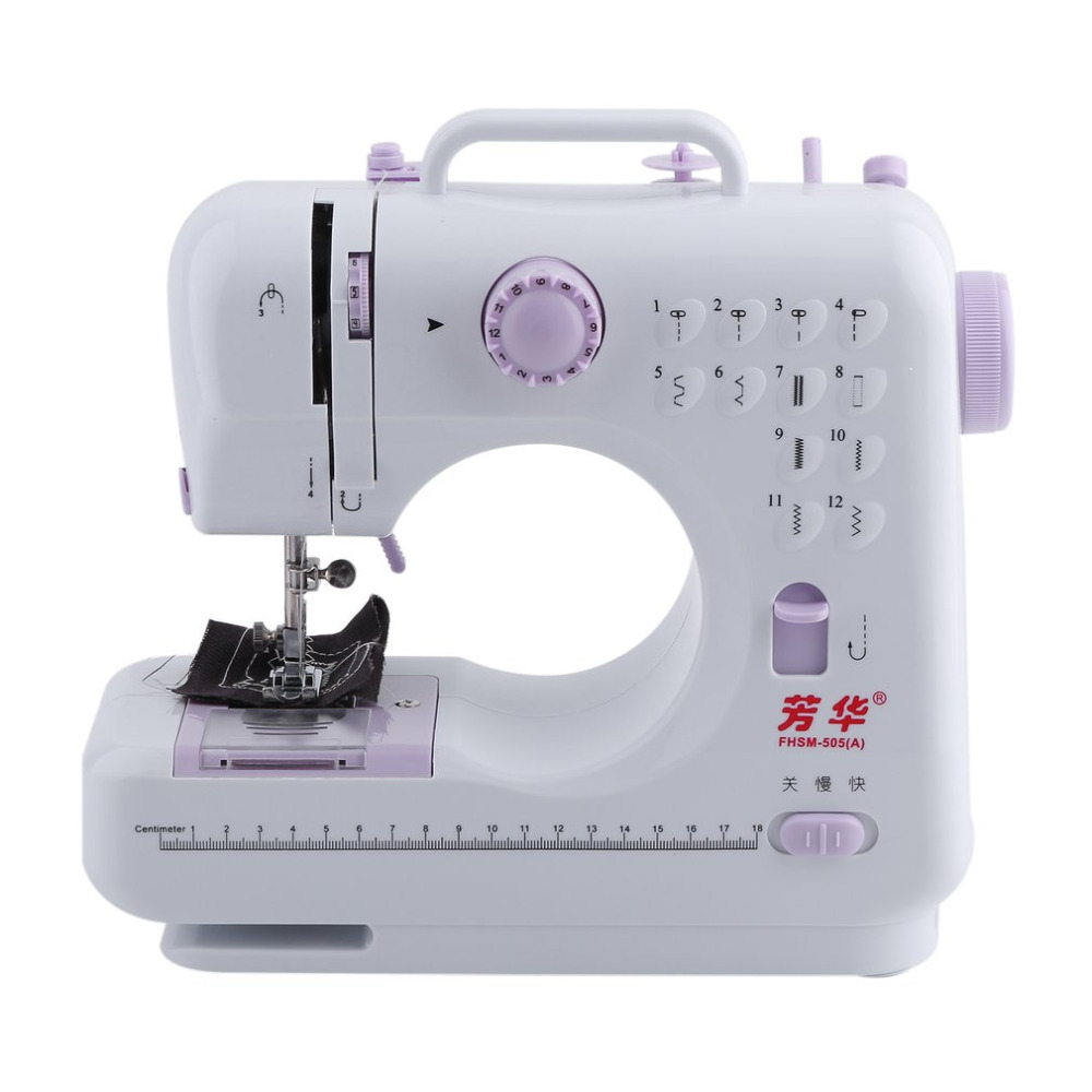 Desktop Portable Double Thread Double Speed 12 Pre-Set Stitches Mini Household Sewing Machine 505A Presser Foot mini 12 stitches sewing machine household multifunction double thread and speed free arm crafting mending machine