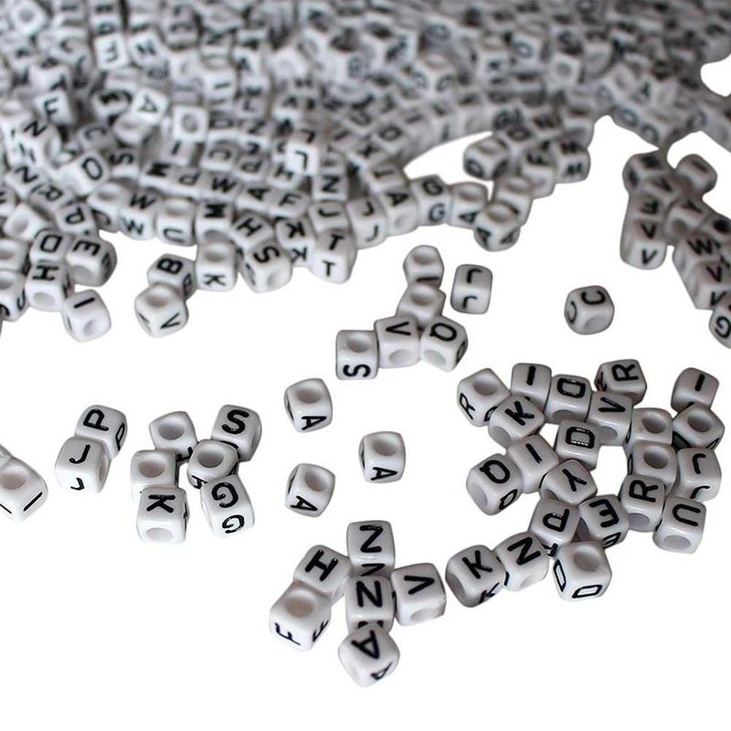 100Pcs White Letter Alphabet Acrylic Beads For Bracelet DIY 6mm in Jewelry Findings Components from Jewelry Accessories