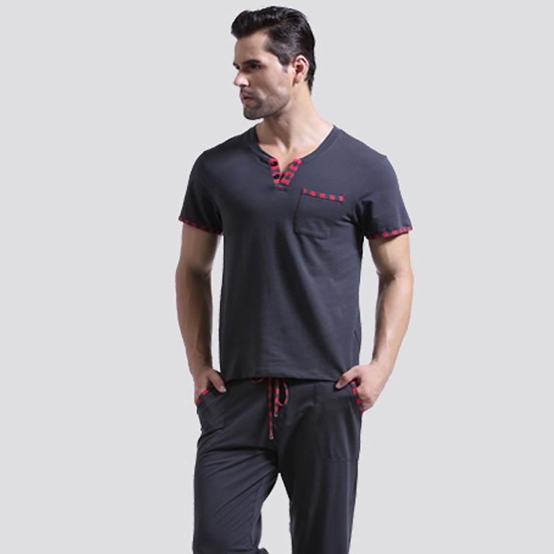Men's Home Pajama Sets Long Pants Johns Winter Male Sleepwear Tops& Bottoms Cotton Thin Pajamas Set T-shirts 6 Colors