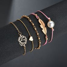 1 set of popular woven bracelets 5 sets pearl love leaves bracelet jewelry direct