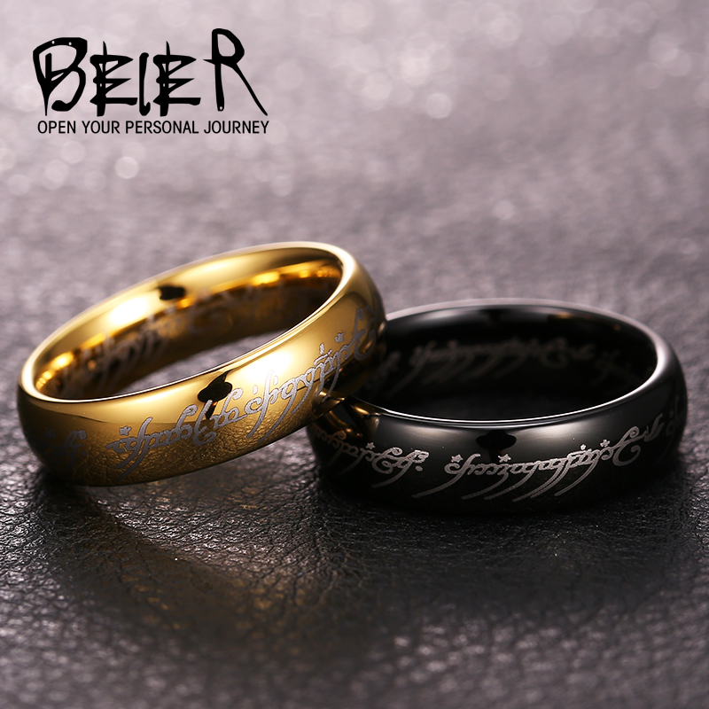 BEIER new Tungsten Good Detail Movie Ring Hot Sale Fashion Men Jewelry Top quality BR-W034 button front frilled detail top