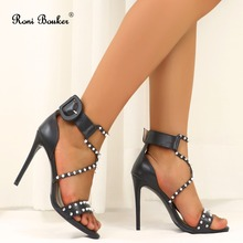 Roni Bouker Fashion Spikes Sandals Women Genuine Leather Strap Heels Woman Handmade High Quality Lady Shoes Black Dropshipping