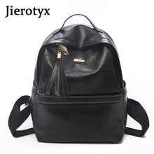 JIEROTYX Fashion Tassel Women Backpack Pu Leather School Bags Mochilas Mochila Feminina Bolsas Mujer Backpacks Rivet Vintage