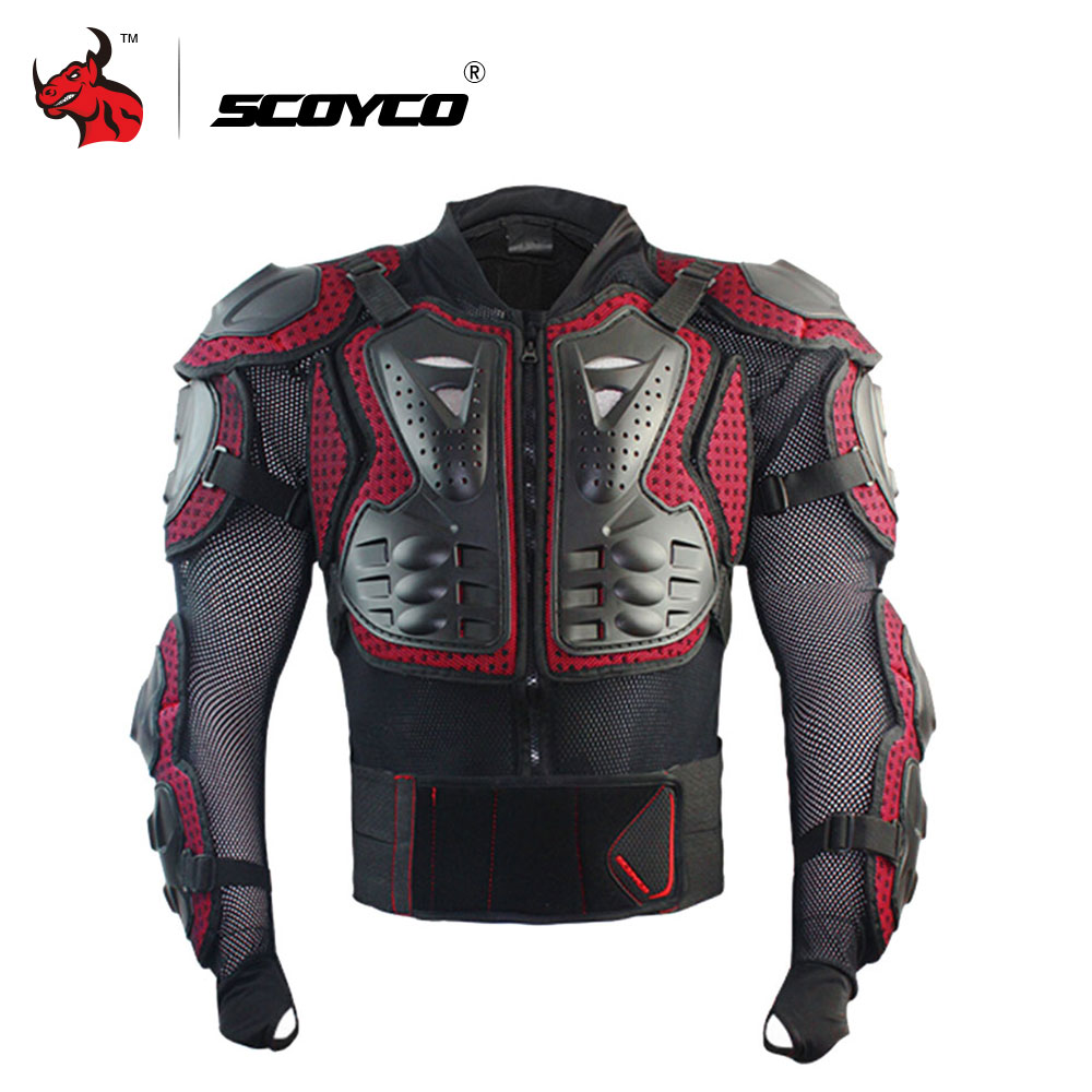 SCOYCO Professional Motorcycle Full Body Armor Protector Protective Motorcycle Body Armor Motorcycle Jacket Black And Red scoyco k11h11 motorcycle sports knee elbow protector pad guard kit black