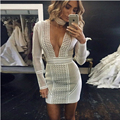 New Chic Sexy Women dress solid white long sleeve deep v-neck bodycon Sportswear hollow out femme robe vestodis 2016
