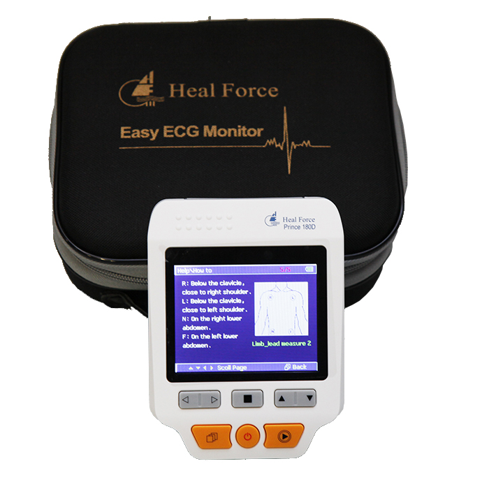 Hot Sale Portable Easy <font><b>ECG</b></font> EKG Handheld Heart Rate Monitor <font><b>Sensor</b></font> PRINCE 180D Heart Monitor image