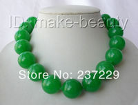 Wholesale price FREE SHIPPING AD stunning big 20mm round natural green jade beads necklace silver