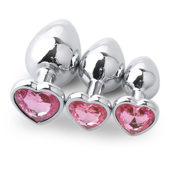 Pink metal anal plug boxed in 3 sizes