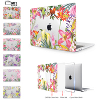 MTT Clear Crystal Case For Macbook Pro 13 15 Retina 12 Inch Touch Bar Watercolor Flower
