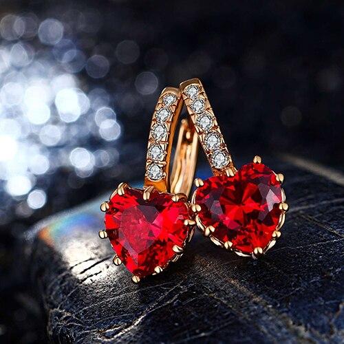 Nouveauté 2019 luxe mode femmes rouge amour coeur Zircon levier Huggie boucles doreilles bijoux AISI