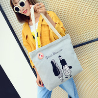 2017 Famous Brands Women Handbags Literature Printing Canvas Hemp Rope Tote Female Casual Beach Bags Handbags