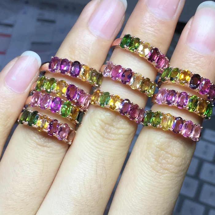 [MeiBaPJ ธรรมชาติทัวร์มาลีนอัญมณีแฟชั่นที่มีสีสันแหวนดอกไม้หินสำหรับสตรีจริง 925 เงินสเตอร์ลิง Charm เครื่องประดับ Fine