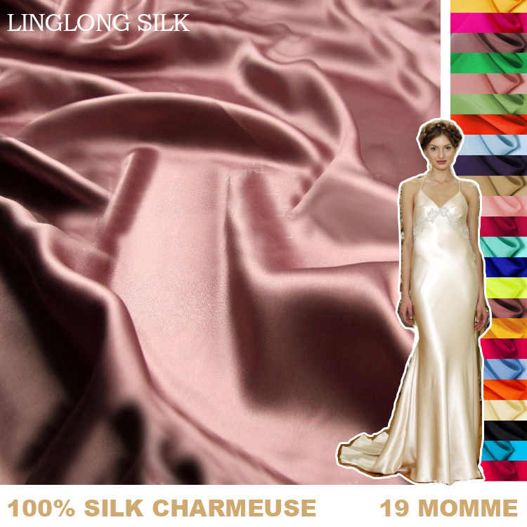 100%SILK CHARMEUSE SATIN 114cm width 19momme Pure Mulberry Silk Fabric satin bed sheets fabric for curtains free shipping 61-90
