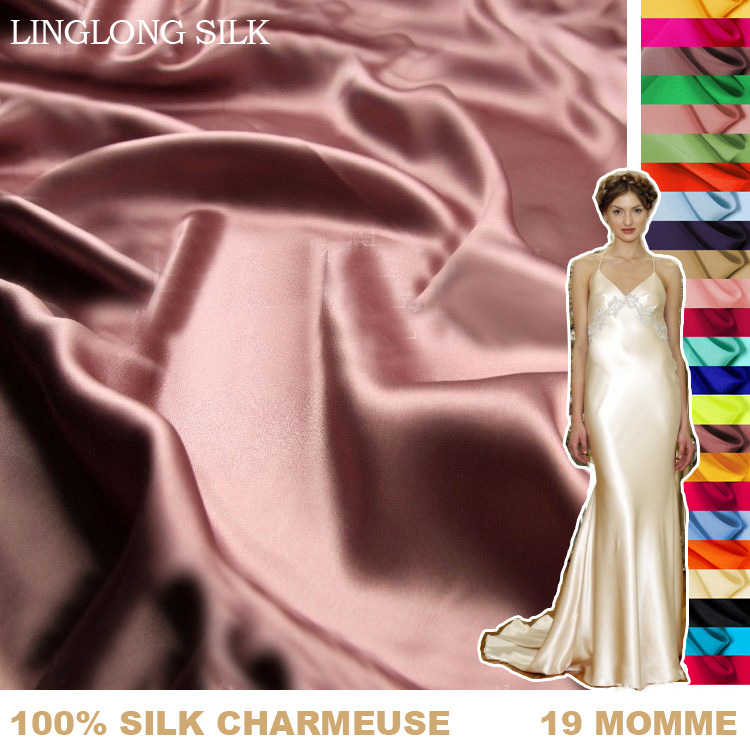 100%SILK CHARMEUSE SATIN 114cm width 19momme Pure Mulberry Silk Fabric satin bed sheets fabric for curtains free shipping 61 90