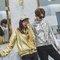 Gold jacket men casual clothes Rock Hip hop Couple Hot stamping Silver Standing collar casaco masculino mens jackets and coats