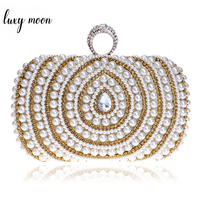 Diamonds Finger Ring Female Clutch Bag Fashion Women Wedding Purse Gold Chain Shoulder Handbag Pearl Beaded Party Clutches