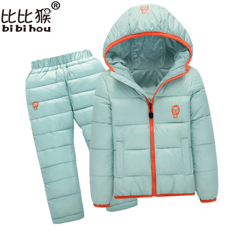 Bibihou baby Children boys girls winter warm down jacket suit set thick coat + pants baby clothes set kids jacket sport suit стоимость