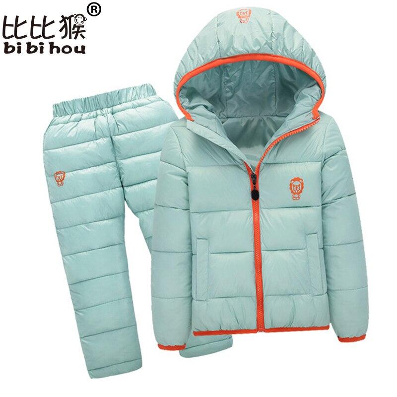 Bibihou baby Children boys girls winter warm down jacket suit set thick coat + pants baby clothes set kids jacket sport suit