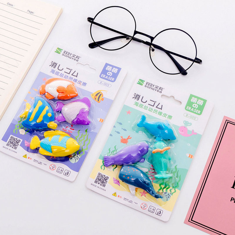 4pcs/lot  Marine Life Set Eraser School Office Rubber Eraser Special Painting Classi EraserGive Your Child A Reward Gift