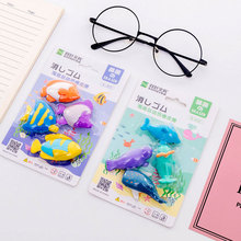 4pcs/lot  Marine life set eraser school office rubber special painting classi eraserGive your child a reward gift