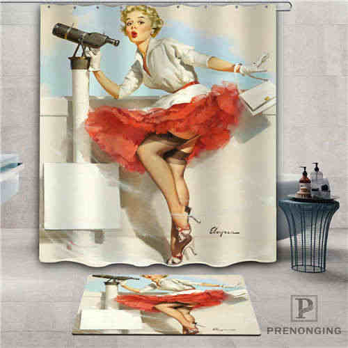 Custom pin-up-girl (6) Waterproof Shower Curtain  Doormat Home Bath Bathroom  Polyester Fabric Multi Sizes#2019-1-05-74