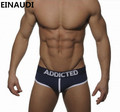 EINAUDI  Men Cotton Underwear/Briefs Sexy Shorts Gay Sleepwear Man Stripe Underpants Huge Penis Pouch Penis enlargement ADDICTED