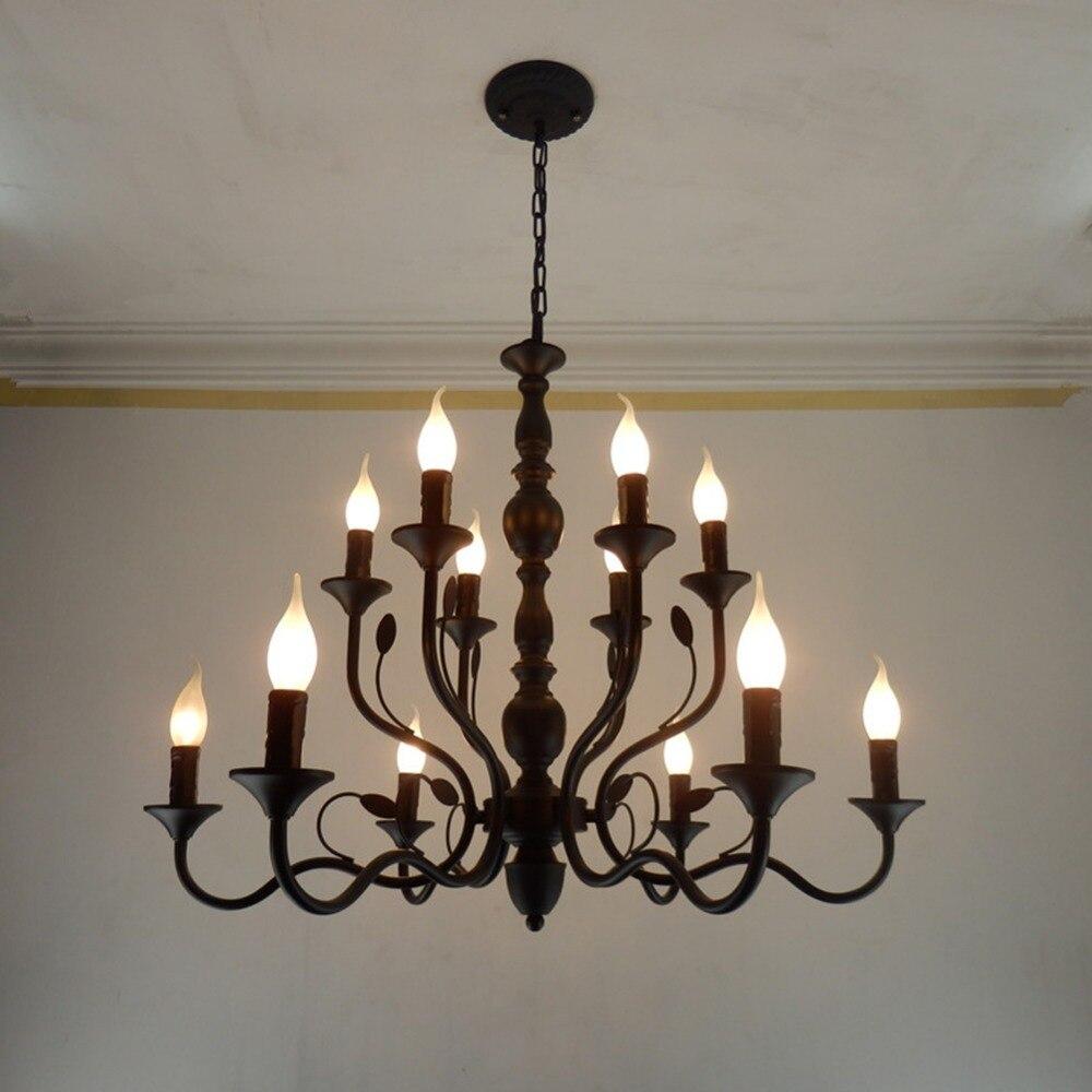 Ilumina O Lustre Retro Preto Ferro Forjado Lustres Para Sala De