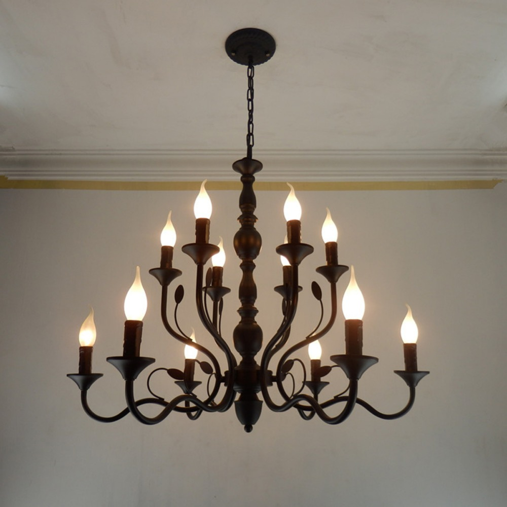 Retro Chandelier Lighting Black Wrought Iron Chandeliers for Dining Room Industrial Vintage Ceiling Chandelier Lighting Bedroom led chandelier black iron ceiling chandeliers lighting fixtures american countryside style for living room and bedroom lighting