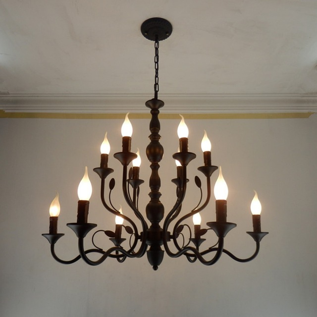 Retro Chandelier Lighting Black Wrought Iron Chandeliers For Dining Room Vintage Ceiling Bedroom