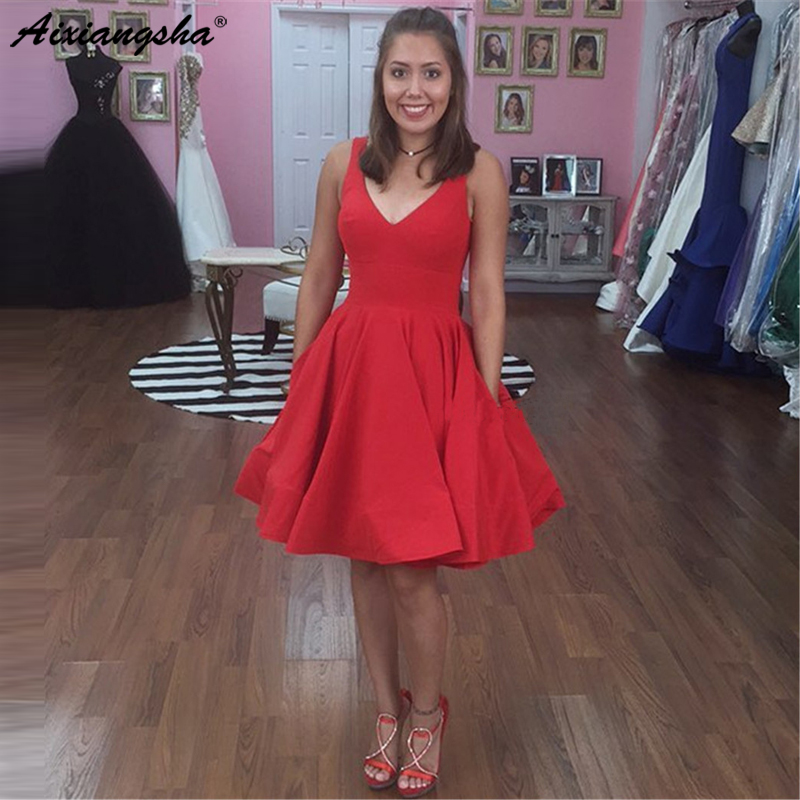 Red Short   Prom     Dresses   2019 V Neck A Line Pockets High Quality Elastic Satin Party   Dress   Cheap 2019 Hot Selling Homwcoming   Dress