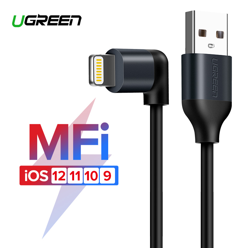 Ugreen Cable USB para iPhone X Xs X Max XR 2.4A Lightning de carga rápida Cable de datos para iPhone 8 7 6 6 6 S 5S Cable cargador de teléfono móvil