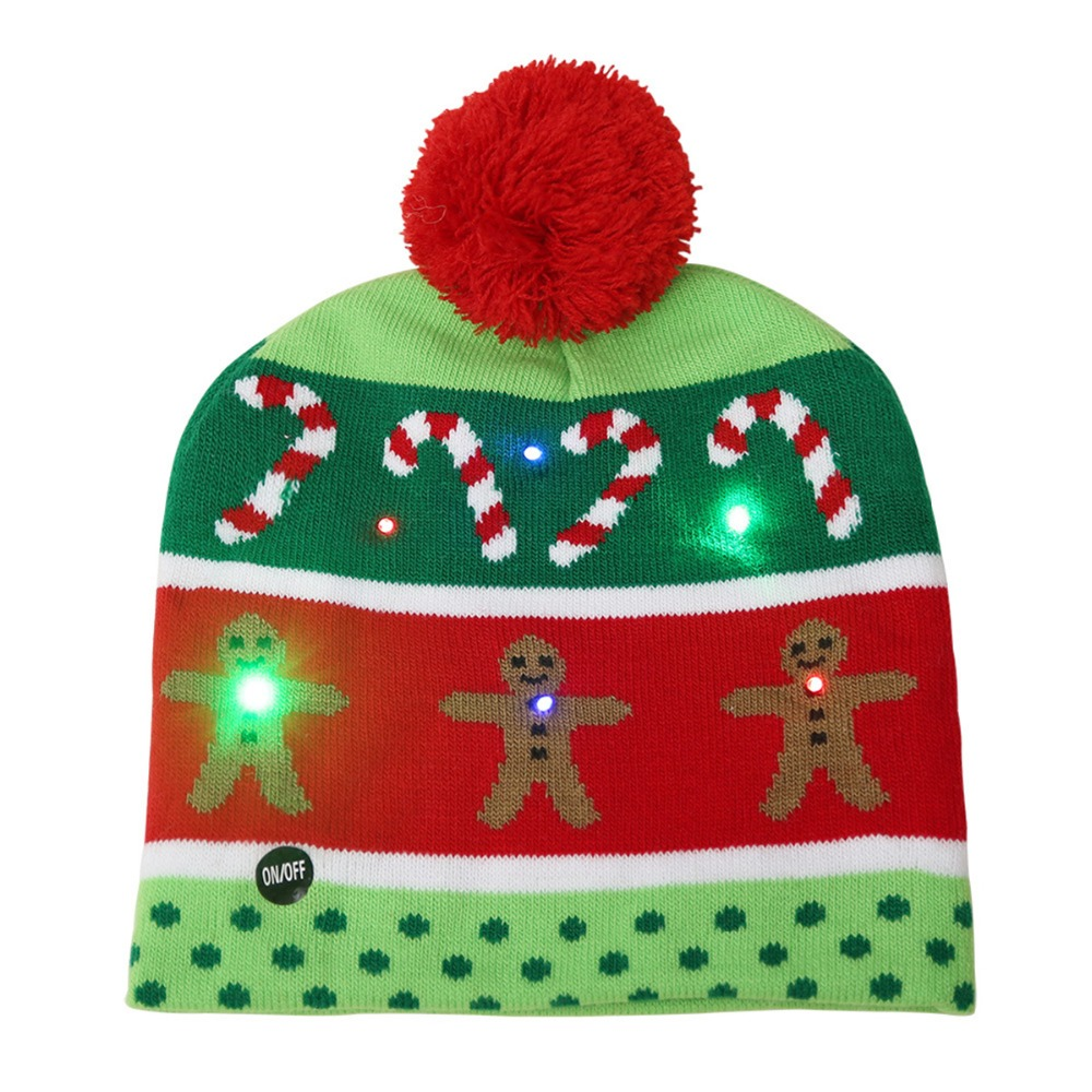 8d39a95cdcd30 New Fashion 2018 Lovely Christmas Hat LED Caps Santa Claus Snowflake Soft  Warm Knitted Cap Kids  Xmas Gift-in Skullies   Beanies from Apparel  Accessories on ...