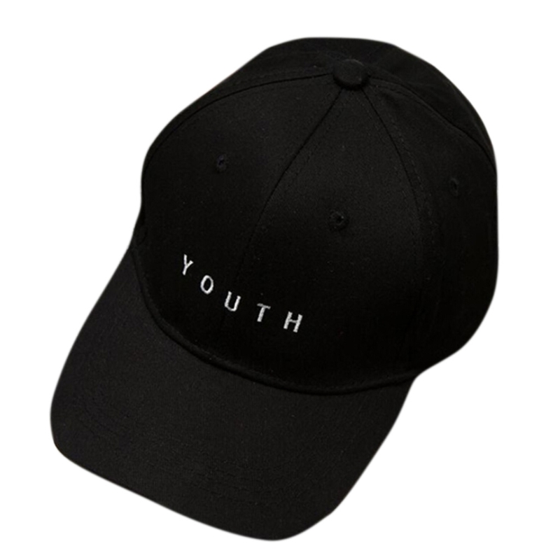 Unisex Letter Embroidered Baseball Cap Hip-Hop Adjustable Snapback Hat Trucher Black/White/Pink Sun Hat