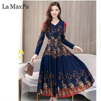 2019 Women Autumn Dress Casual Long Sleeve Women Clothing Fashion Printed Chiffon Dress Vintage Slim plus size Long Dresses
