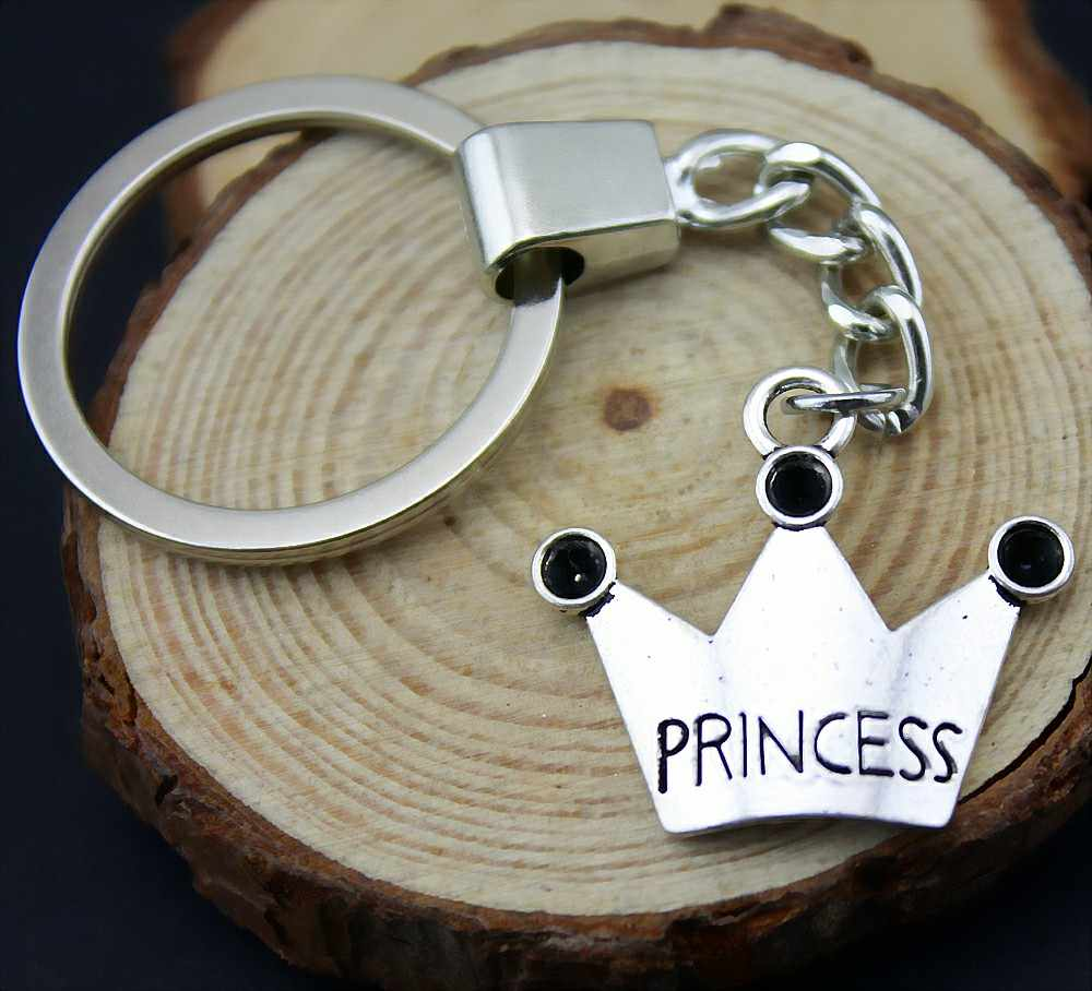 Home Decor Metal Crafts Favors princess crown Pendants DIY Car Key Ring Holder Souvenir Gift Optional Package Box