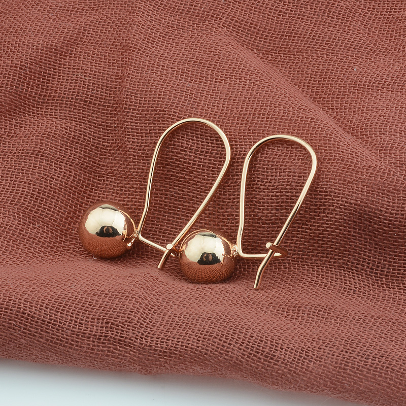 New Fashion Jewelry Women 585 Rose Gold Color Ball Earring Drop Dangle Round Earrings(China)