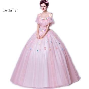 78eeb6888cd Ruthshen Rosa dulce 16 Quinceañera vestidos baratos de hombro flores con  cuentas de tul Debutante 15 adolescentes fiesta vestido de baile de  graduación