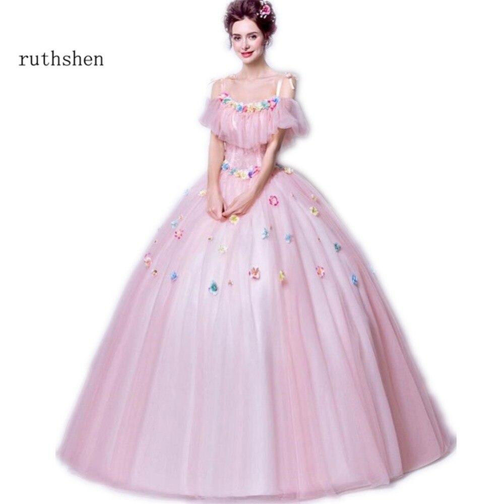 Ruthshen Rosa dulce 16 Vestidos de quinceañera barato hombro flores ...