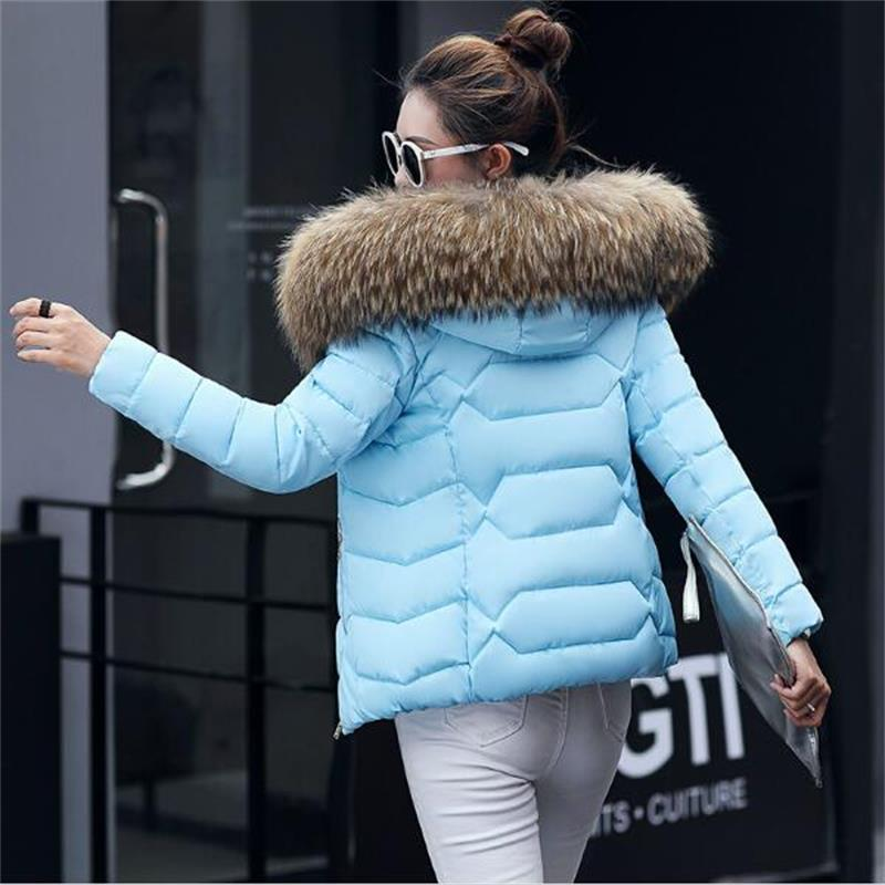 SMFOLW winter jacket women 2017 Fashion Cotton Padded Hooded Coat Parkas Female Wadded Outwear Fur Collar Slim Warm Jackets winter women outwear long hooded cotton coat faux fur collar plus size parkas wadded slim jacket warm padded cotton coats pw0997
