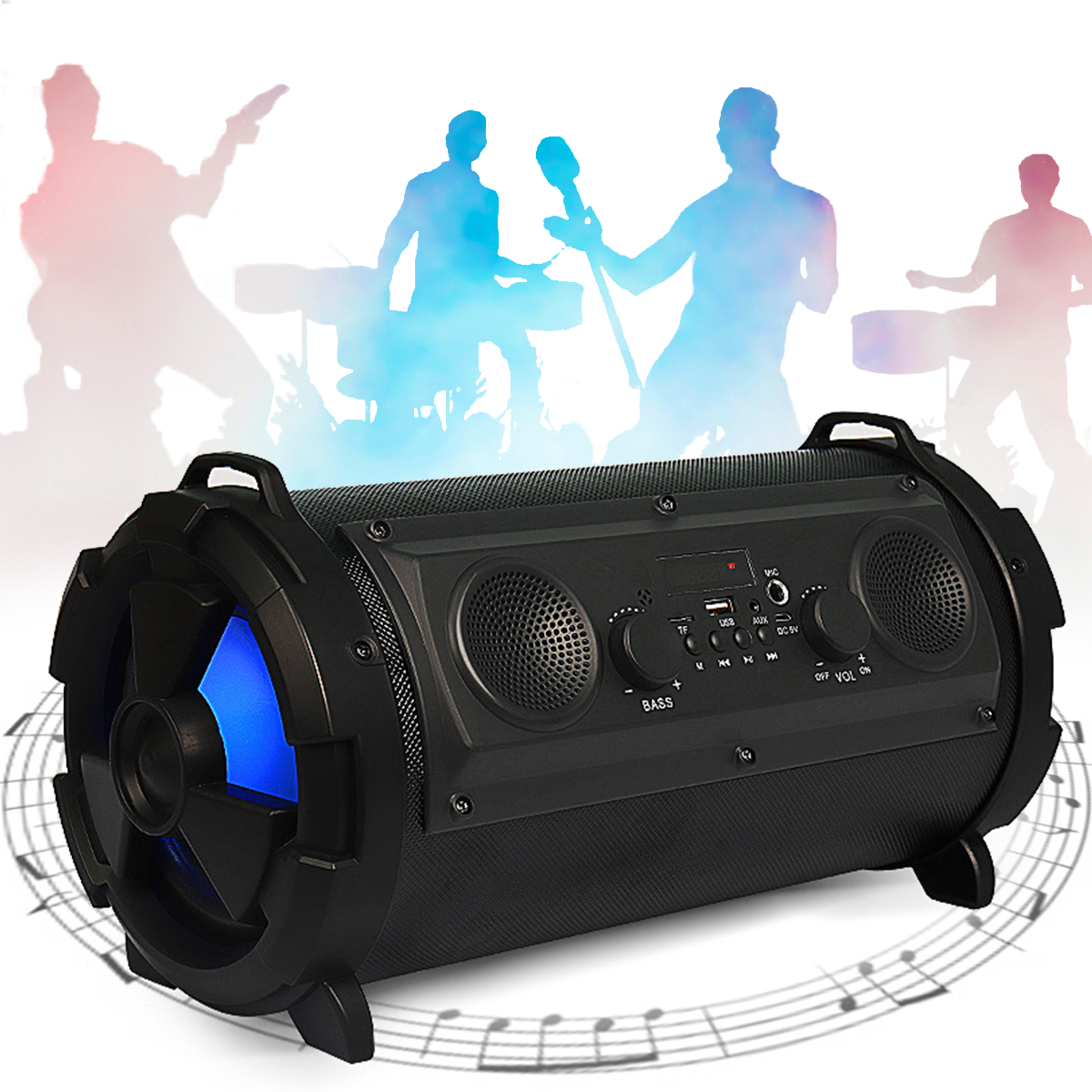Portable Wireless Bluetooth Speaker Subwoofer With Misic Super Bass Speakers HIFI Stereo TF Card Outdoor Loundspeaker exrizu ms 136bt portable wireless bluetooth speakers 15w outdoor led light speaker subwoofer super bass music boombox tf radio