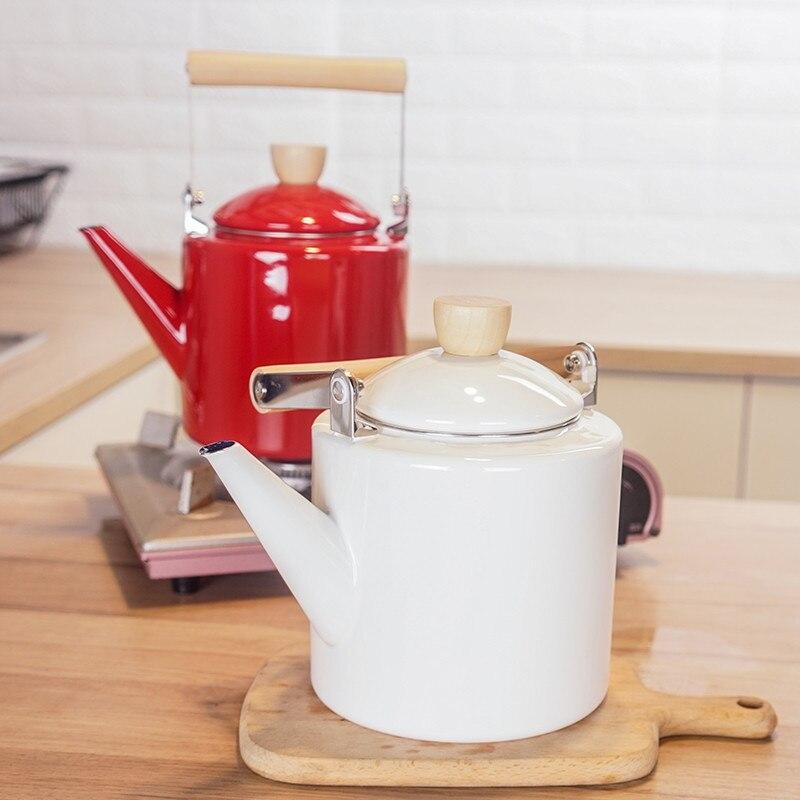 2L Emaille Wasserkocher Teekanne Kaffeekanne Kochen Werkzeuge Gerade Kräutertees Teekanne Induktion Herde Hohe Weizen Topf
