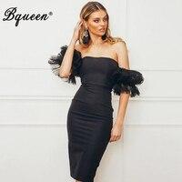 Bqueen Elegant Summer Dress Puff Sleeve Mesh Slash Neck Knee Length Lace Party Club Dress Sexy Dress Female Vestidos Dress 2019