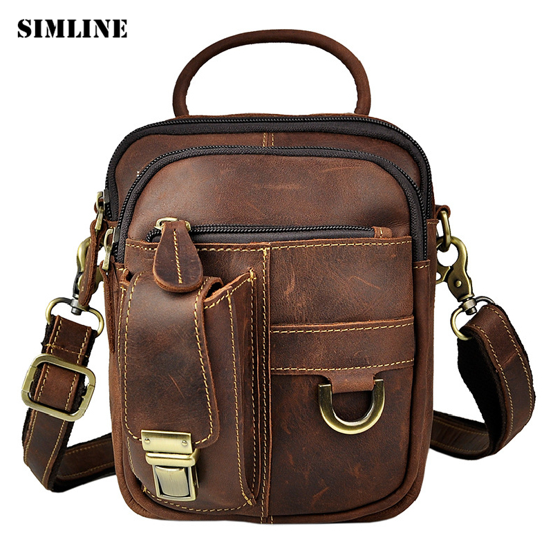SIMLINE Vintage Casual Genuine Crazy Horse leather Cowhide Men Outdoor Waist Pack Shoulder Messenger Bag Bags Handbag For Men simline 2017 vintage genuine crazy horse leather cowhide men men s messenger bag small shoulder crossbody bags handbags for man