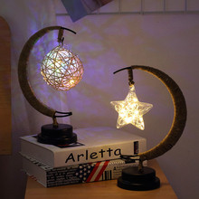Led Moon Bedside Lamp Table Lamps for Living Room Art Deco Handmade Light Kids Birthday Night Lights Gift AA Battery