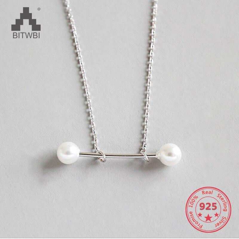 100% S925 Sterling Silber Mode Geometrische Element Einfache Perle Anhänger Feine Halskette