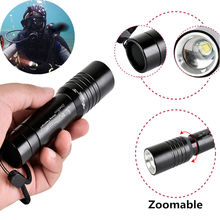 Underwater Zoomable 2000LM zoom T6 LED diving light Waterproof scuba Diving Flashlight Dive Torch lamp for 18650 Battery