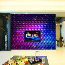 Customized mural large 3D  painting with colorful dynamic motion for box wall as background wallpaper in KTV room stage